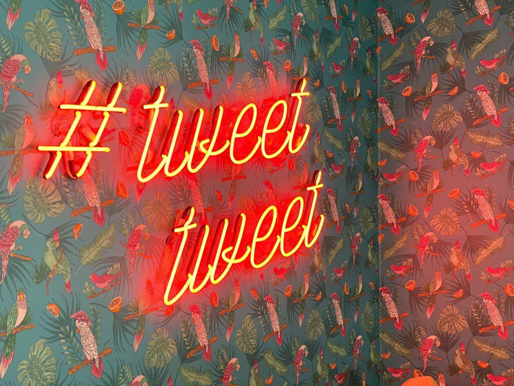 Neon lighting on a wall spelling out '#tweet tweet'